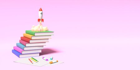 Toy rocket takes off from the books spewing smoke on a pink background. Symbol of desire for education and knowledge. School illustration. 3D rendering. Stock Photo