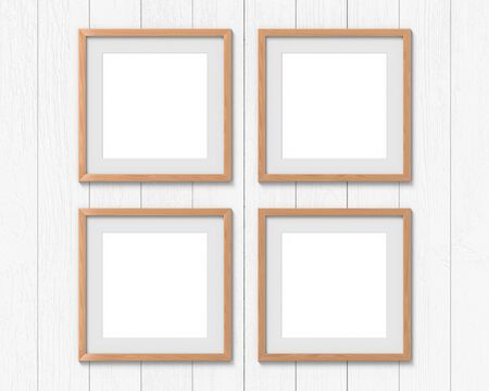 Set of 4 square wooden frames mockup with a border hanging on the wall. Empty base for picture or text. 3D rendering.