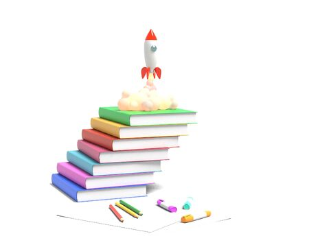 Toy rocket takes off from the books spewing smoke on a white background. Symbol of desire for education and knowledge. School illustration. 3D rendering.