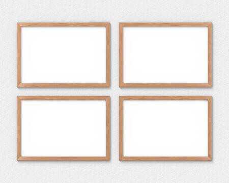 Conjunto de 4 maquetas de marcos de madera horizontales colgadas en la pared. Base vacía para imagen o texto. Representación 3D. Foto de archivo