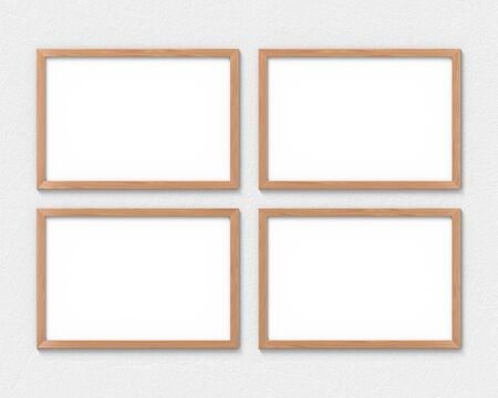 Set of 4 horizontal wooden frames mockup hanging on the wall. Empty base for picture or text. 3D rendering. Imagens