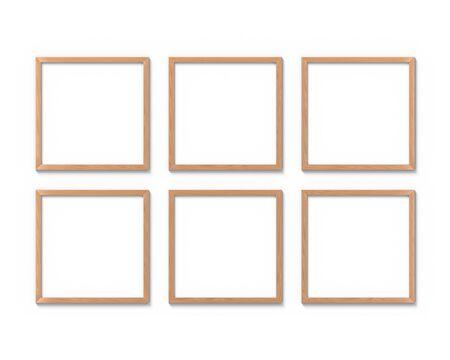 Set di 6 cornici quadrate in legno mockup appese al muro. Base vuota per foto o testo. Rappresentazione 3D. Archivio Fotografico