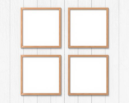 Set of 4 square wooden frames mockup hanging on the wall. Empty base for picture or text. 3D rendering.