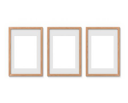 Set of 3 vertical wooden frames mockup with a border hanging on the wall. Empty base for picture or text. 3D rendering.