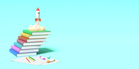 Toy rocket takes off from the books spewing smoke on a blue background. Symbol of desire for education and knowledge. School illustration. 3D rendering. Stock Photo