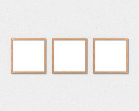 Set of 3 square wooden frames mockup hanging on the wall. Empty base for picture or text. 3D rendering.