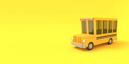 Cartoon school bus yellow on a yellow background. Simple isolated school illustration. 3D rendering.