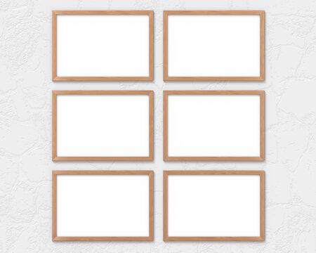 Set of 6 horizontal wooden frames mockup hanging on the wall. Empty base for picture or text. 3D rendering.