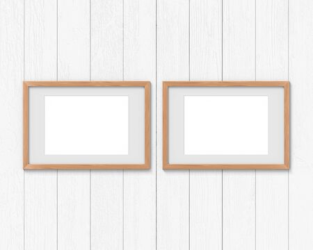 Set of 2 horizontal wooden frames mockup with a border hanging on the wall. Empty base for picture or text. 3D rendering.