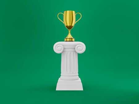 Abstract podium column with a golden trophy on the background. The victory pedestal is a minimalist concept. 3D rendering. Stockfoto