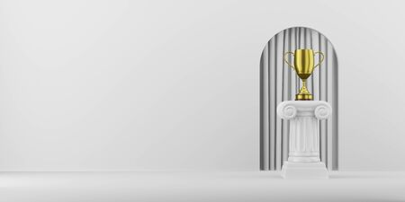Abstract podium column with a golden trophy on the background with arch. The victory pedestal is a minimalist concept. 3D rendering.