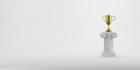 Abstract podium column with a golden trophy on the background. The victory pedestal is a minimalist concept. 3D rendering. Banco de Imagens