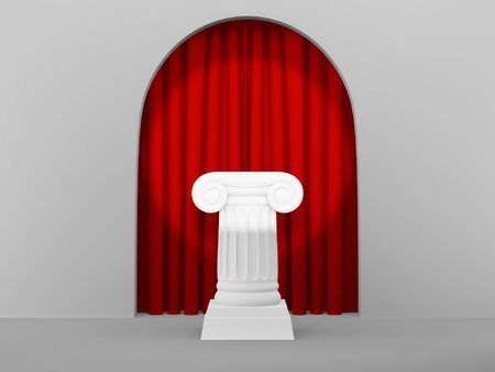 Abstract podium column on the background with arch. The victory pedestal is a minimalist concept. 3D rendering.