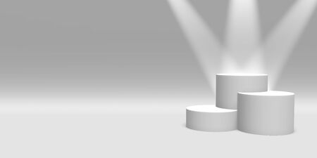 Podium, pedestal or platform white color illuminated by spotlights on white background. Abstract illustration of simple geometric shapes. 3D rendering.