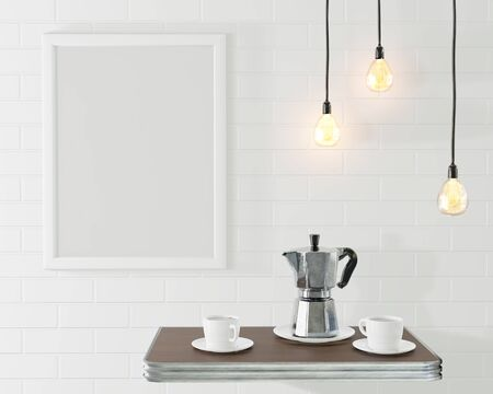The frame for the picture in the loft interior. Conceptual cafe with a concrete wall and vintage lamps. Old coffee pot and cups. 3d rendering Stock Photo