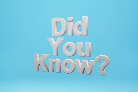 Did you know? on a blue background. 3d rendering.