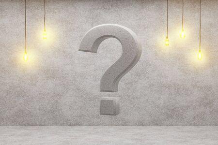 Fragezeichen auf einem Loft-Hintergrund. 3D-Rendering.