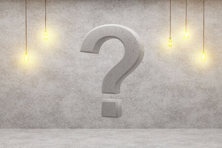 Question mark on a loft background. 3d rendering.
