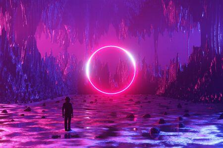 Un homme, un astronaute, se tient à la surface d'une planète extraterrestre et regarde un cercle de néons. Silhouette dans le contexte d'un paysage fantastique. rendu 3D.