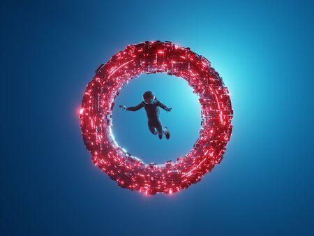 Cosmonaut flying through a luminous neon ring, portal. 3D rendering