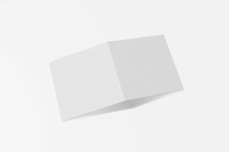 Mockup square booklet, brochure, invitation isolated on a white background with hard cover and realistic shadow. 3D rendering.