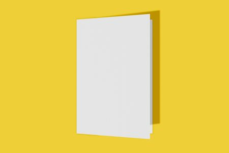 Mockup vertical booklet, brochure, invitation isolated on a yellow background with hard cover and realistic shadow. 3D rendering.