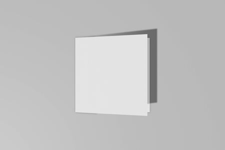 Mockup square booklet, brochure, invitation isolated on a grey background with hard cover and realistic shadow. 3D rendering.
