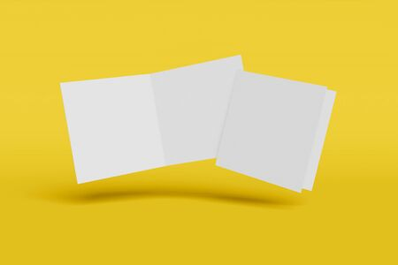 Mockup square booklet, brochure, invitation isolated on a yellow background with hard cover and realistic shadow. 3D rendering. Фото со стока