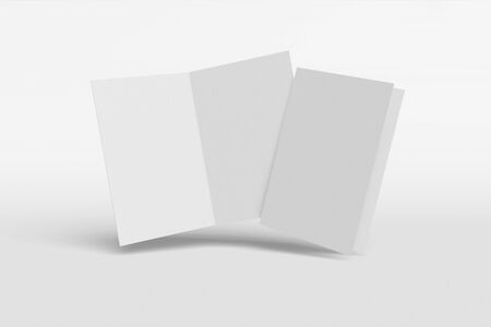 Mockup vertical booklet, brochure, invitation isolated on a white background with hard cover and realistic shadow. 3D rendering.