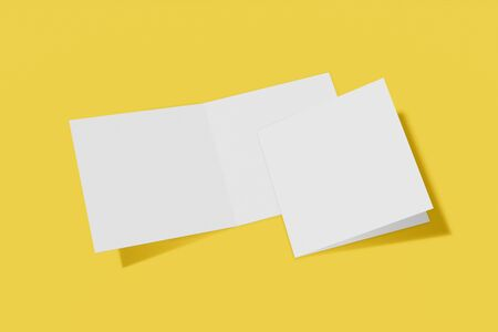 Mockup square booklet, brochure, invitation isolated on a yellow background with hard cover and realistic shadow. 3D rendering. Imagens