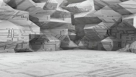 3d rendering sci-fi interior. Landscape of a fantastic alien city. Futuristic abstract polygonal metal background, neon light. Modern podium concept. Stock Photo