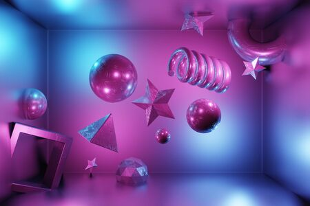 3D rendering abstract art sci-fi background. The simple form of a ball, cube, star, spiral, icosphere, torus metal texture flies without gravity. Light purple, blue neon. Modern color trends fashion illustration for bright design. Imagens