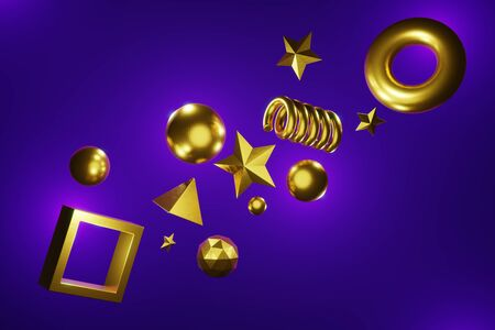 3D rendering abstract art sci-fi background. The simple form of a ball, cube, star, spiral, icosphere, torus gold metal texture flies without gravity. Light purple, blue neon. Modern color trends fashion illustration for bright design.