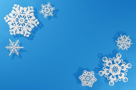 3d rendering pattern snowflake frosty texture corners image, mockup blue background.