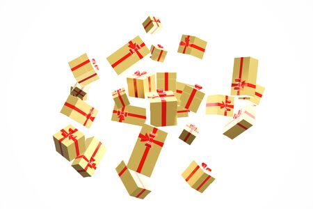 3d rendering explosion gifts boxes fly on a white background. Gift surprise for Christmas, New Year, Valentines Day.