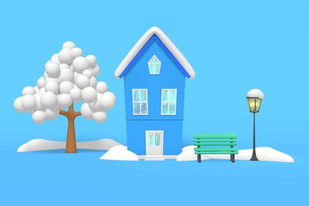 3d rendering winter house snow on the roof, tree, bench under a vintage street lamp, snowdrifts on a blue background