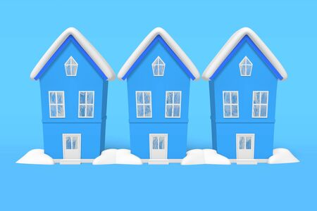 3d rendering winter three identical house snow on the roof, snowdrifts on a blue background.