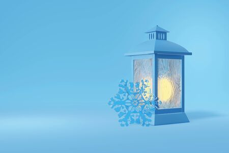 3d rendering of a vintage, antique lantern and snowflake. Orange fire shines behind frosty glass. Illustration on a blue background Stok Fotoğraf