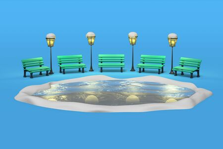 3D rendering of benches illuminated by antique lanterns in a park around a frozen lake, ice rink