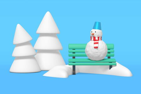 3d rendering of a snowman standing on a bench in a snowdrift in a winter park near white Christmas trees Stok Fotoğraf