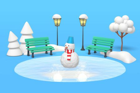 3d rendering a snowman stands on a frozen lake, ice rink in a winter park. Benches and trees illuminated by vintage lanterns.