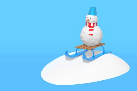 3d rendering of a funny snowman on a childrens sled slides off a snow slide. Illustration on a blue background