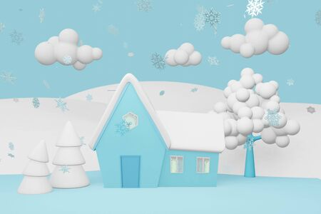 3D rendering of a winter village landscape. Lonely house in the snow, a white tree and freezing pine trees on a background of fields and blue sky Stok Fotoğraf
