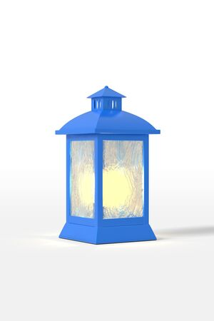 3d rendering an old blue lantern glows in orange. Isolated on a white background. Cartoon minimalistic style. Фото со стока