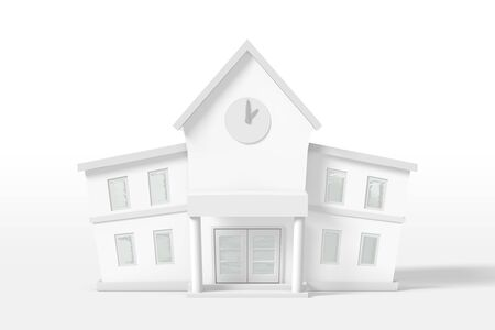 3d rendering two-story house of white color isolated on a white background. Cartoon minimalistic style. Фото со стока - 131389428