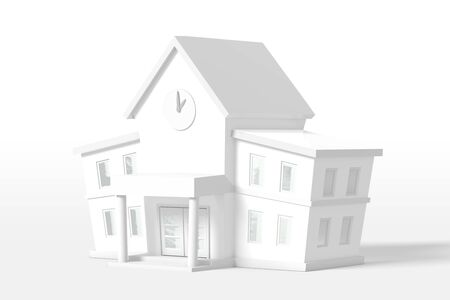 3d rendering two-story house of white color isolated on a white background. Cartoon minimalistic style.
