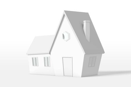 3d rendering of a country house with an extension of white color isolated on a white background. Cartoon minimalistic style. Фото со стока
