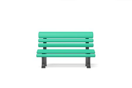 3d rendering park bench green color isolated on a white background. Cartoon minimalistic style. Banco de Imagens