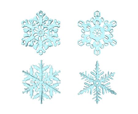 3d rendering set of realistic snowflakes isolated on a white background. Cartoon minimalistic toy style.