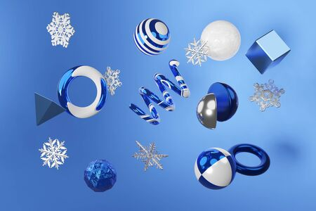 3D rendering Christmas abstract scene movement geometric figure shiny metal and snowflakes in white and blue color. Stylish modern trend design